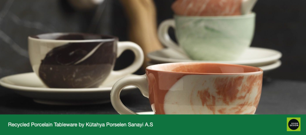 Above: Each product is unique and inimitable: Hypnose Recycled Porcelain Tableware from Kütahya Porselen Sanayi