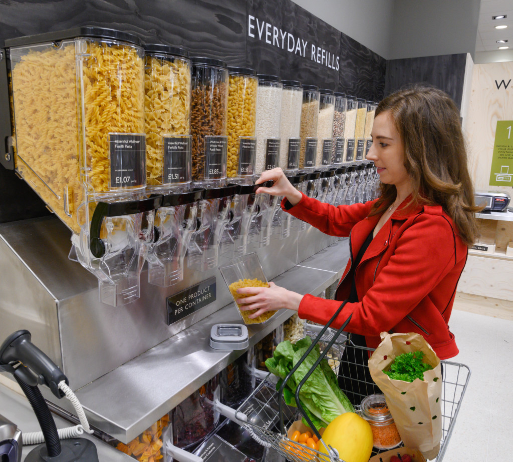 Top: Consumers can use their own storage containers to shop Waitrose's Unpacked selection.