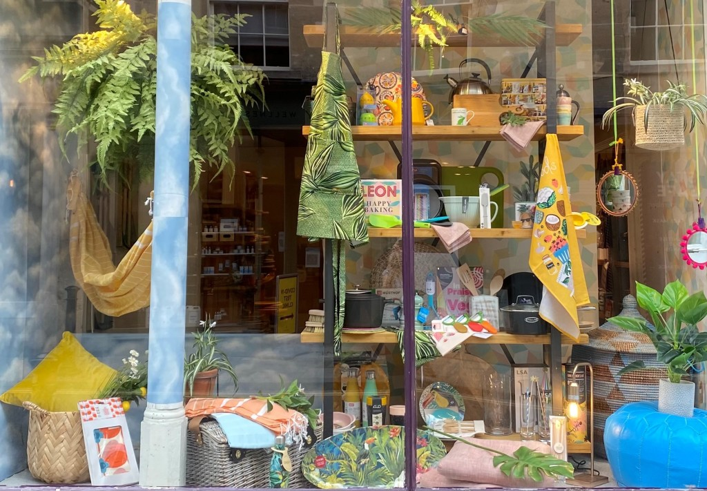 Above: Kitchen and Dining products in one of the Summer Brights Windows by independent department store Rossiters of Bath.