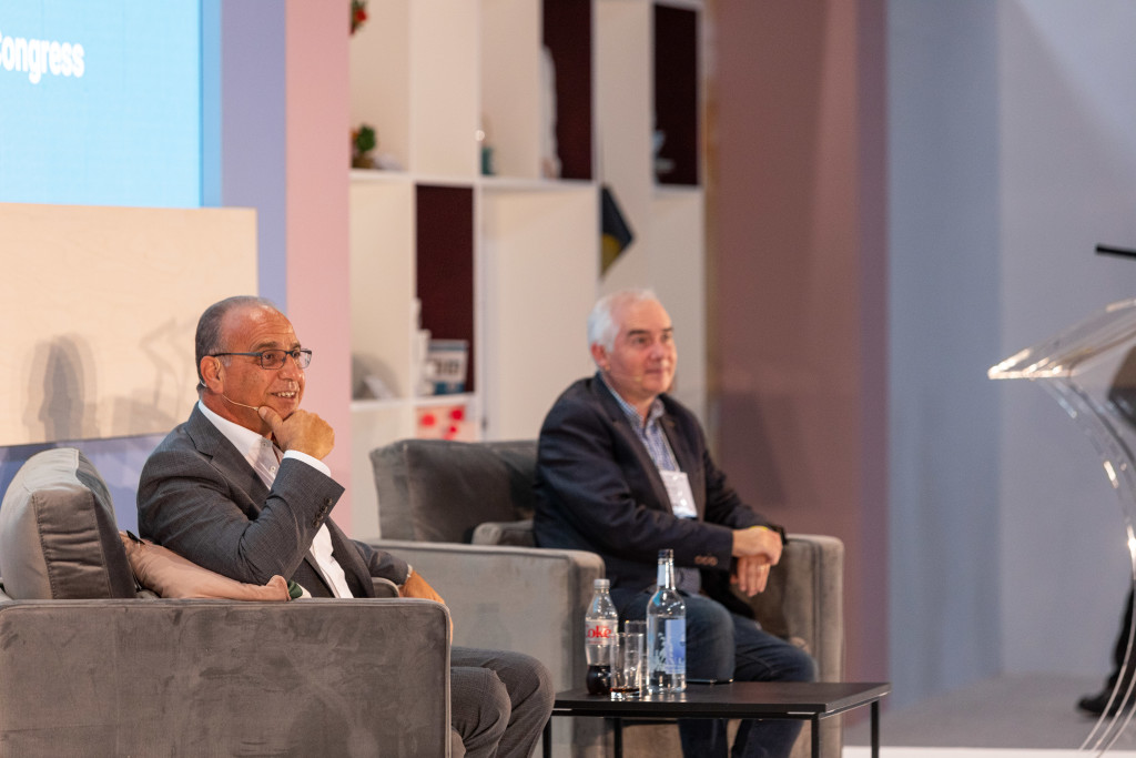 Above: Theo Paphitis was interviewed by Mark Faithfull, editor of World Retail Congress at Autumn Fair on Tuesday September 7.