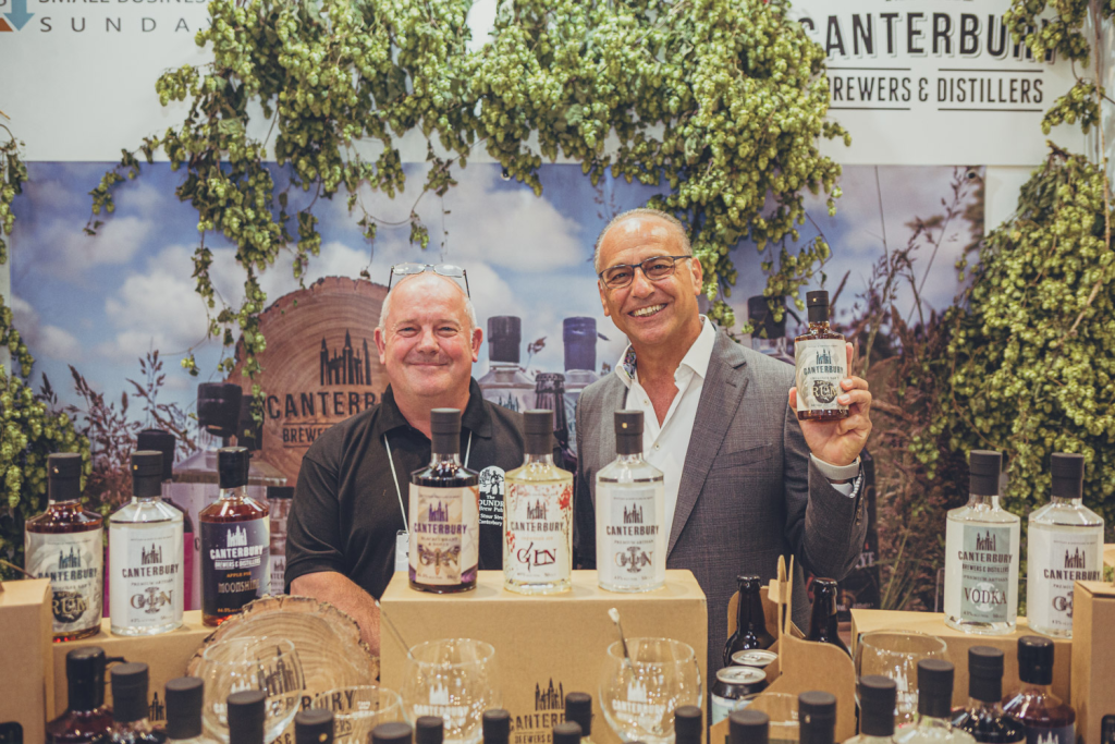 Above: Prior to his address, Theo met up with the #SBS exhibitors, and is shown on the Canterbury Brewers stand.