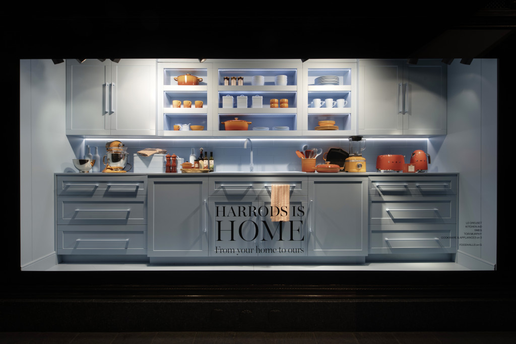 Above: One of the kitchen themed windows by Harrods.