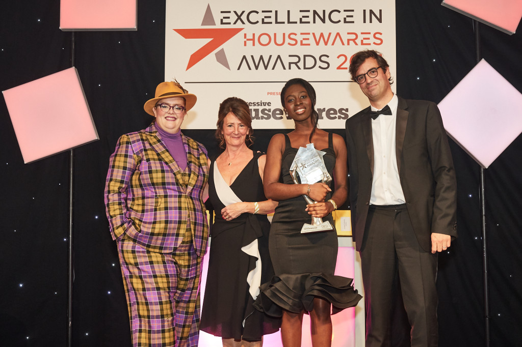 Above: Harrods' Margaret Osei-Bonsu and Lyn Walsh picked up their Excellence in Retail Display award, presented by Groupe SEB's managing director, Christopher Leblan.